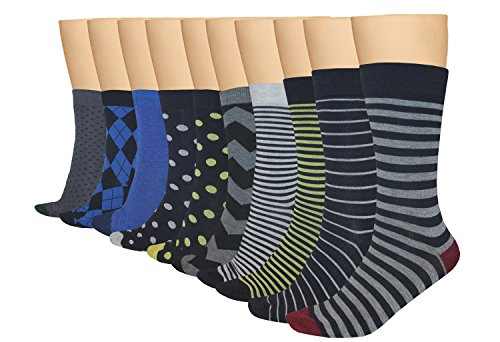 3KB Men's Dress Socks Smart Collection (10 Pairs Per Pack) Shoe Sizes 7 to 11 - Variety of Patterns With New Improved Fit