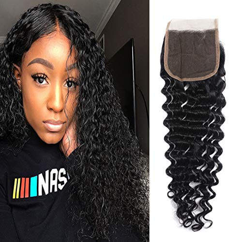 Deep Wave Lace Closure 4x4 Free Part 100% Unprocessed Virgin Brazilian Deep Curly Human Hair Lace Closure Natural Black by Msjoli (18 Inch Free Part)