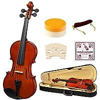 4/4 Full Size Acoustic Violin, Strong Wind Solid Wood Natural Varnish Violin Beginner Kit with Hard Case, Shoulder Rest, Bow, Rosin for Starter Students Children
