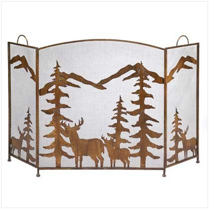 Gifts & Decor Rustic Forest Folding Fireplace Screen (Decorative Folding Screens)
