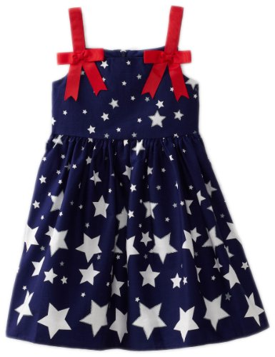 Bonnie Jean Little Girls' Empire Waist Star Bow Shoulder Print Dress