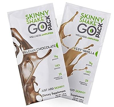 Skinny Shake® Chocolate & Vanilla Protein Powders, Premium Ingredients, Healthy Diet, Weight Loss, Daily Nutrition, Vitamins & Minerals, Trial Pack, 1 Chocolate, 1 Vanilla Go Pack, 1 Trail Mix Go Pack