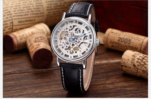Mens Luxury Watches Original Men's 426AL.SET.01 Mechanical Skeleton Leather Band Wrist Watch