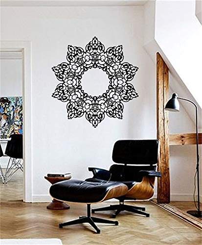 Jisao Wall Decal Sticker Art Mural Home Decor Quote Pinturas Murais Big Mandala Yoga Sticker Menhdi Lotus Pattern Ornament Om Indian Home Decor]()