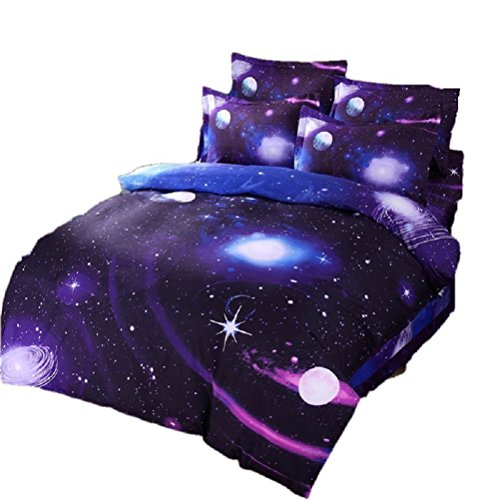 Ikakon 3 in1 3D Print Galaxy Floral Twin Bedding Sets- Duvet Cover, Outer Space Sheets with 1 Pillow Case (XK007 Blue)