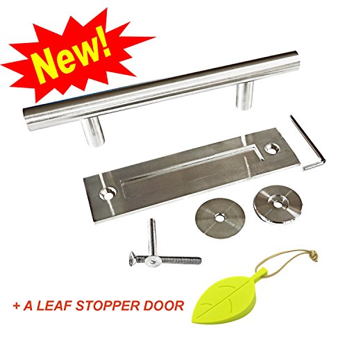 Insert Hanger Door (NAPUPRO Barn Door Handle - Door Handle Pull and Flush Set with 304 Stainless Steel( best steel) , Silver ,Brushed Statin Finish , 12 inch Barn Door Handle Hardware for Wood , Glass, Iron Doors)