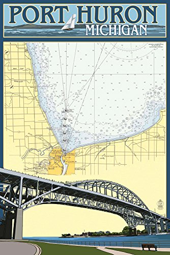Port Huron  Michigan   Nautical Chart  12X18 Art Print  Wall Decor Travel Poster