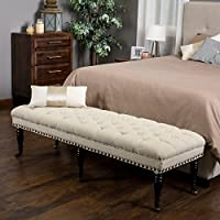 Modern Rectangular Hastings Ivory Tufted Fabric Ottoman Bench, It Adds Beauty and Elegance to Any Room
