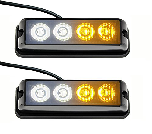 Strobelight Bar 4 LED with Super Bright Emergency Beacon Flash Caution Strobe Light Bar with 17 Different Flashing (2PCS) (White&Yellow)