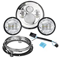 "Motorcycle 7"" Daymaker LED Headlight for Harley Davidson Road King, Road Glide, Street Glide and Electra Glide,Ultra Limited with 4-1/2 LED Passing Lamps Fog Lights and Bracket Mounting Ring"