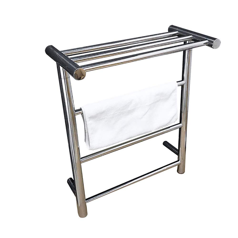 BILLYS HOME Heated Towel Rack 304 Stainless Steel Wall Mounted Electric Heated Towel Rack Warmer with Shelf Electric Thermostatic Bathroom Heated Towel Rail Radiator,A,Hardwiring