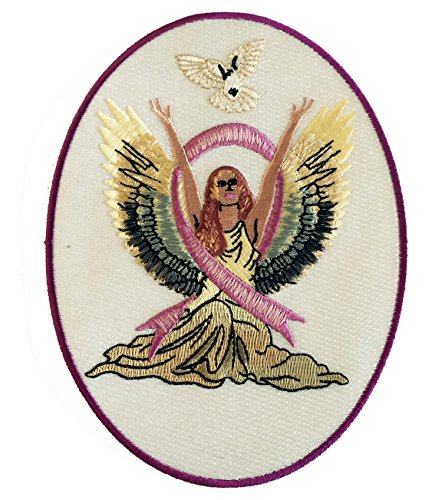 Dove Applique - Angel & Dove Breast Cancer Awareness Ribbon - Iron on Embroidered Patch Applique