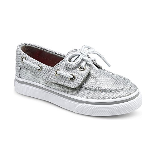 Sperry Top-Sider Bahama JR Boat Shoe ,Silver Textile,12 M US