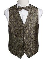 EGE2B.01 Multiple Colors Paisley Microfiber Vest Pre-tied Bow Tie Set By Epoint