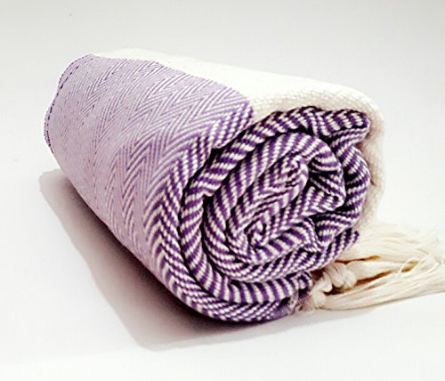 Turkish Cotton Bath Beach Spa Hammam Yoga Gym Yacht Hamam Towel Wrap Pareo Fouta Throw Peshtemal Pestemal Sheet Blanket by Paramus (1, lilac)
