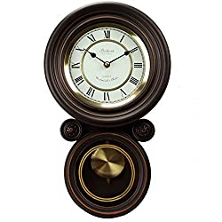 Bedford Clock Collection Contemporary Round Wall Clock with Pendulum