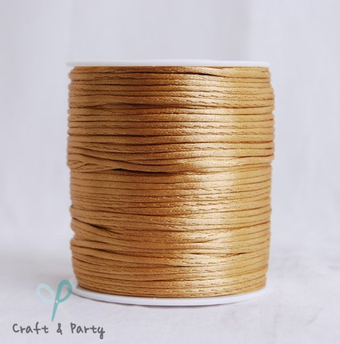Cord Trim - Old Gold 2mm x 100 yards Rattail Satin Nylon Trim Cord Chinese Knot