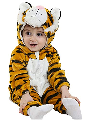 COSLAND Infant Baby Boys' Plannel Tiger Animal Costume Creeper Romper (Tiger, 6-12 Months)]()