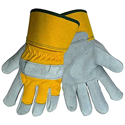 Global Glove 2190 Leather Gunn Cut Premium Grade Glove with Yellow Canvas Back and Washable Safety Cuff, 1.0 mil Thick, Work, (3 Pack)