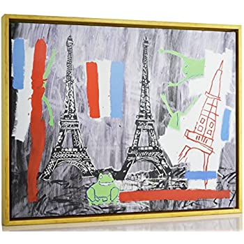 Berkin Arts Framed Jean Michel Basquiat Giclee Canvas Print Paintings Poster Reproduction Eiffel Tower