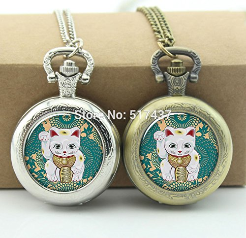 Pretty Lee Lucky Cat Pocket Watch Floating Memory Locket Necklace Vintage Pocket Watch Necklace -