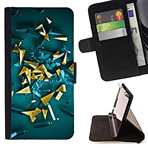 Jordan Colourful Shop - Yellow Gold Abstract 3D Polygon Art For Apple Iphone 6 - Leather Case Absorci???¡¯???€????€????????&ce