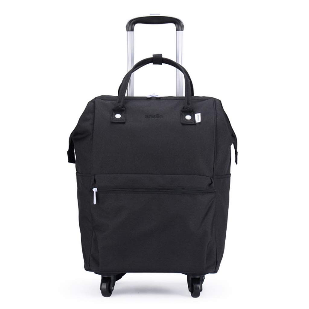 トラベルバックパックフライト承認キャリングバッグ20インチトラベルハンドラゲッジバッグ、ユニバーサルホイールトロリーケース女性のバッグ - 34cm * 20cm * 58cm (色 : 黒)  黒 B07KHKMYFD