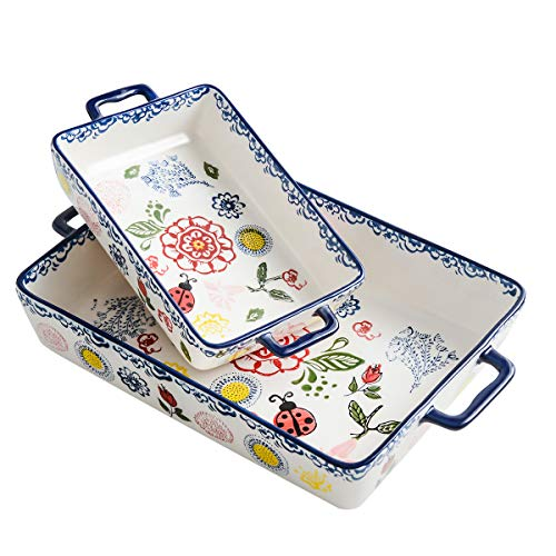 BFU Ceramics Rectangular Baking Dish Set, 2-piece, Baking Pans for Cooking,Cake dinner, Kitchen, Banquet and Daily Use, Stoneware Hand-painted Lasagna Pan,10.63 x 7.48 Inch and 7.48 x 5.12 Inch