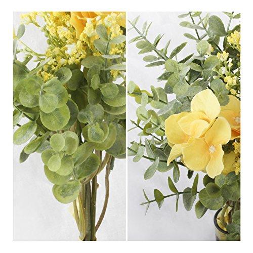 Li-Hua-Cat-Simulation-Flower-Small-Dew-Lotus-Gypsophila-Eucalyptus-Leaves-Bouquet-Artificial-flower-plant-home-wedding-green-plant-decoration-Hydrangea-bouquet-yellow