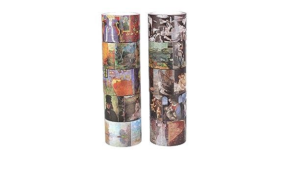 molshine Juego de 10 japonés Washi cinta de carrocero, mundo famoso pintura, cinta adhesiva de papel para manualidades, decorar Craft regalo, regalo, ...