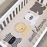 NoJo Play Day Pals 100% Cotton Photo Op Fitted Crib Sheet, Cream, Grey, White, Tan