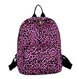 NXDA Women's double backpack leopard plush backpack personality bag leisure travel backpack adjustable wide shoulder strap (Hot Pink)