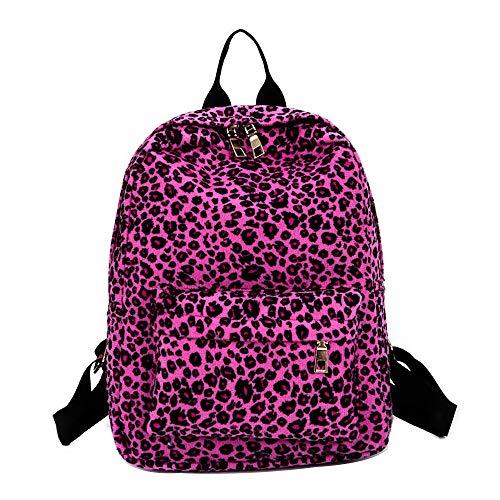 NXDA Women's double backpack leopard plush backpack personality bag leisure travel backpack adjustable wide shoulder strap (Hot Pink) ()