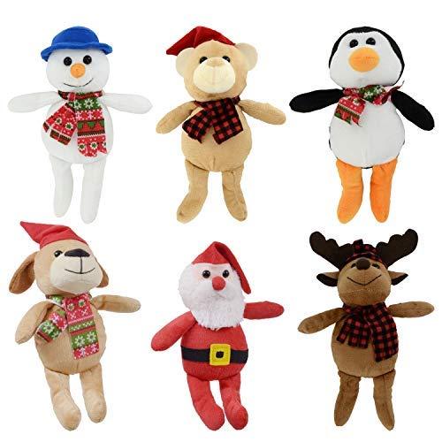 Bundle: 6 Items - 9 Plush Christmas Friends. Reindeer, Santa, Snowmen,Bear, Monkeys, and Penguins