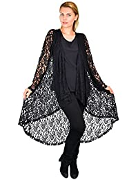 Women Plus Size High Low Open Front Lace Duster Cardigan Jacket
