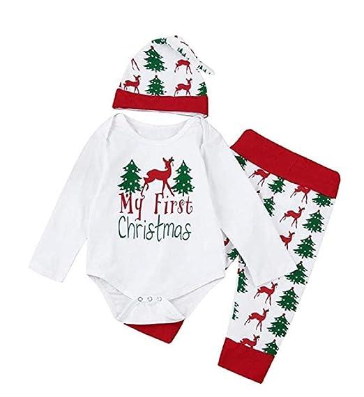 55b6f4f17 Amazon.com  3PCs Baby Girls Boys Christmas Tree Print Clothes Set ...