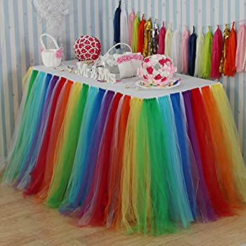 Vlovelife Rainbow Color Tulle Table Skirt Tutu Tableware TableCloth Party Baby  Shower Birthday Wedding Decorations Favor