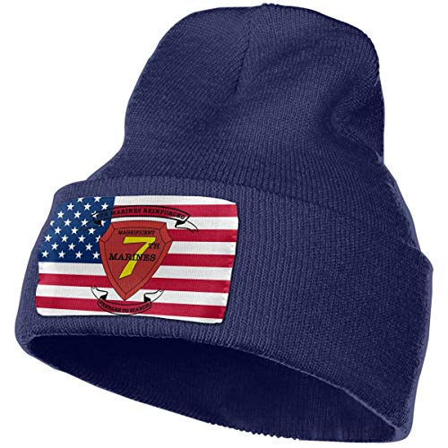 (7th Marine Regiment Men&Women Warm Winter Knit Plain Beanie Hat Skull Cap Acrylic Knit Cuff Hat Navy)