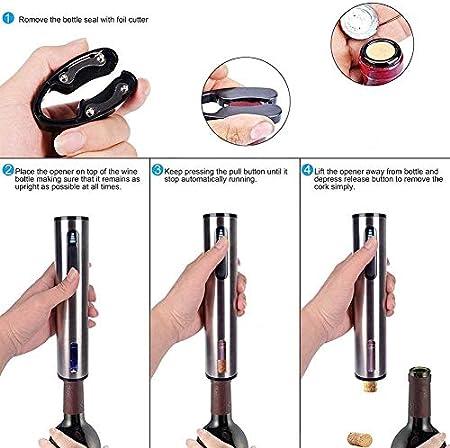 WANGIRL Abrelatas de Vino Eléctrico Juego de Regalo de Sacacorchos Recargable de Acero Inoxidable con Cortador de Aluminio, Cable de Cargador USB