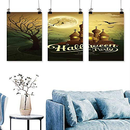 SCOCICI1588 Three Consecutive Painting Frameless Happy Halloween Party Castles with Message,bat,Silhouette Tree,Moon Artwork for Wall Decor Triptych 24 INCH X 47 INCH X 3PCS