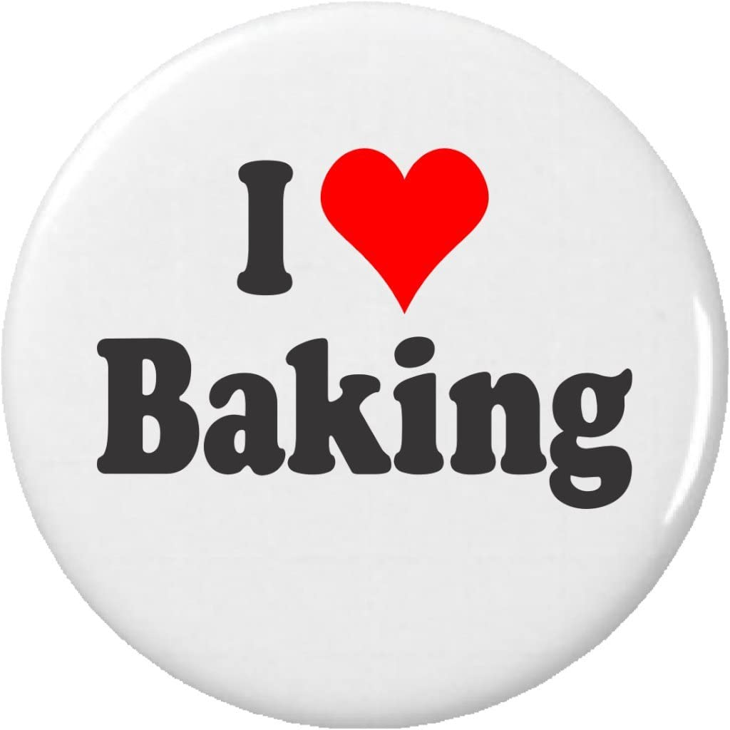 I Love Baking Pinback Button Pin Heart Bake Baker Cook Dessert Food