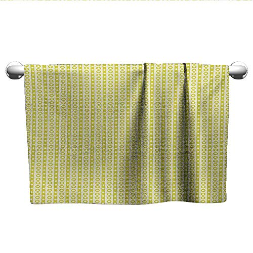 Bensonsve Baby Bath Towel Retro,Vertical Stripes with Polka Dots and Circles Geometric Symmetric Pattern,Avocado Green Cream,Towel for Toddler ()