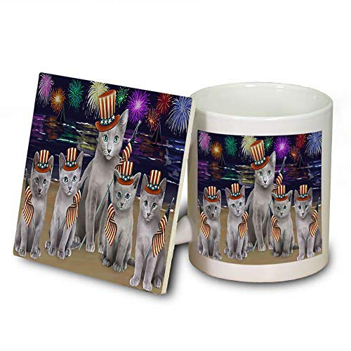4th of July Independence Day Firework Russian Blue Cats Mug and Coaster Set MUC52444 (Dishwasher Independence Coasters Safe)