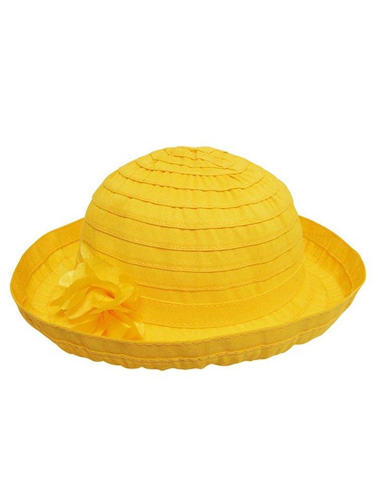 WonderfulDress Little Girl's Ribbon Crusher Hat with Upturned Brim-Yellow-One Size