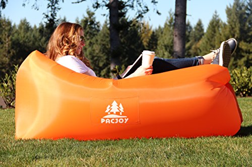 PacJoy Inflatable Lounger Hangout Sofa | Features Deep Pockets, a Discreet Bottle Opener and Custom Travel Bag. Great Air Lounge Chair for Camping, Picnics, Music Festivals & More! - Custom Camp Chairs