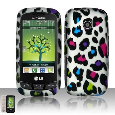 Pink Blue Green Purple Black Color Leopard Design Silver Rubberized Snap on Hard Shell Cover Protector Faceplate Skin Case for Verizon LG Cosmos Touch VN270 + LCD Screen Guard Film (Free Wristband)