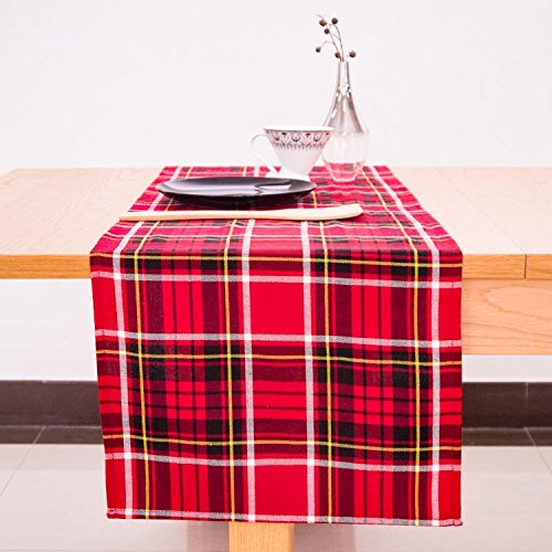 AAYU Scottish Tartan Checkered Table Runner 14 Inch x 108 Inch | Yarn Dyed Soft Boutique | Red, Yellow, Black Plaid Table Runner | 250 GSM Fabrics | Table Top Settings for Wedding and Party Decor