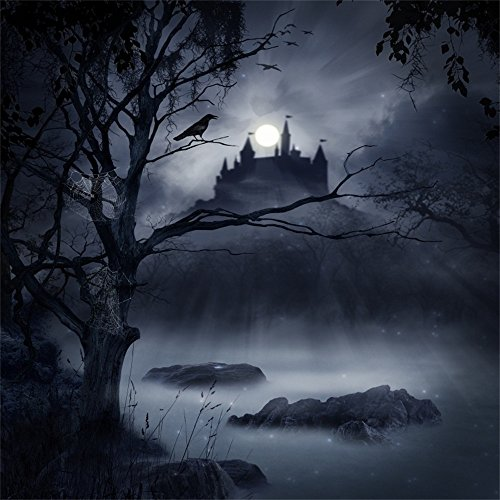 Laeacco Halloween Theme Backdrop 10x10ft Vinyl Photography Background Ghastly Moonlight Foggy Wood Creepy River Haunted Castle Decayed Tree Cobweb Scene Trick Or Treat Party Poster Baby -