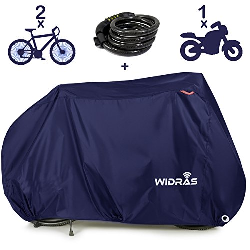 Widras Bicycle and Motorcycle Cover for Outdoor Storage Bike Heavy Duty Rip stop Material, Waterproof & Anti-UV Protection from All Weather Conditions for Mountain & Road Bikes by Widras