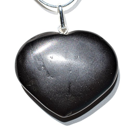 Zenergy Gems Charged Himalayan Black Tourmaline Heart Crystal Perfect Pendant + 20